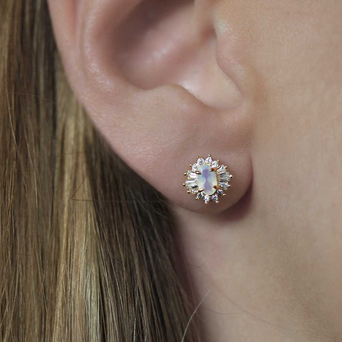 AURELIA. Opal Cluster Gold Earrings