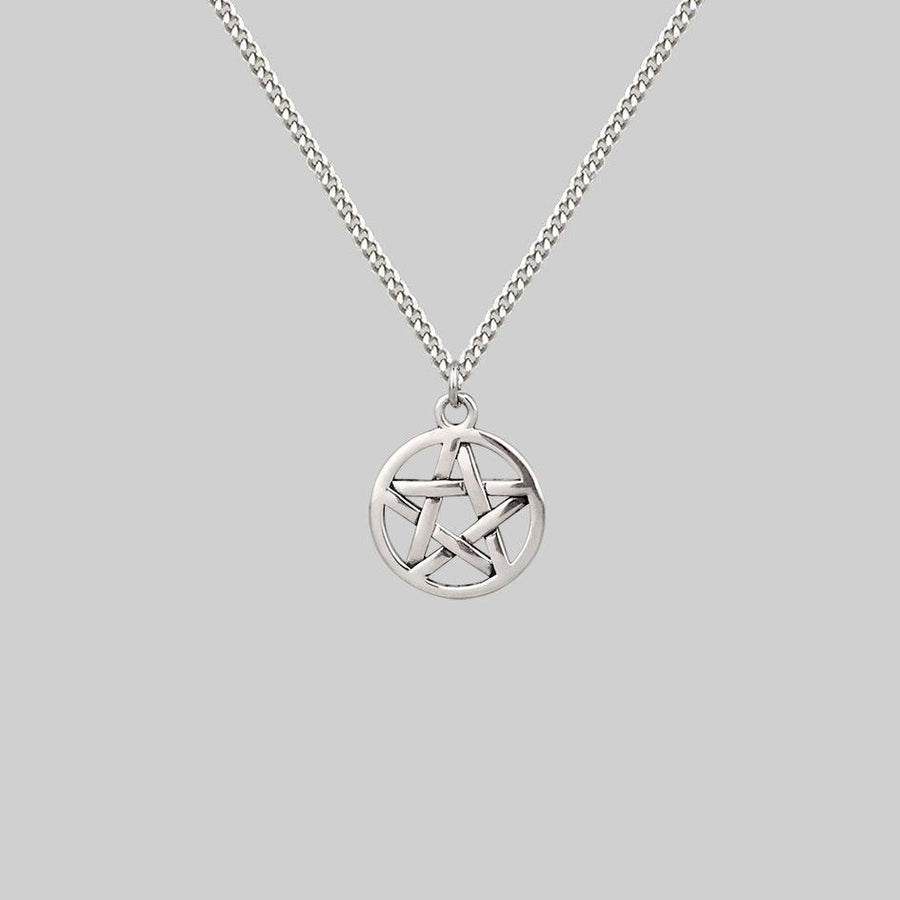pentagram symbol necklace silver
