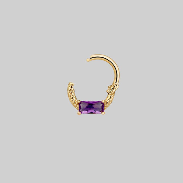 purple nose ring and daith body jewellery