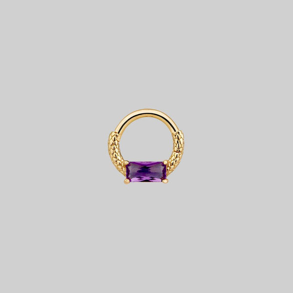 NYMPH. Amethyst Gold Clicker Ring - Septum/Daith/Forward Helix