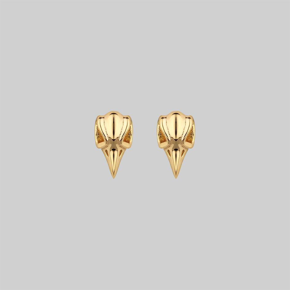 raven stud earrings gold