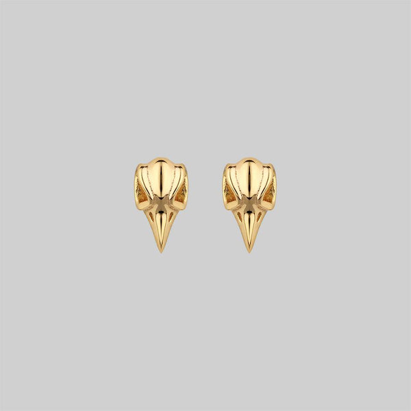 MERLA. Raven Skull Earrings - Gold