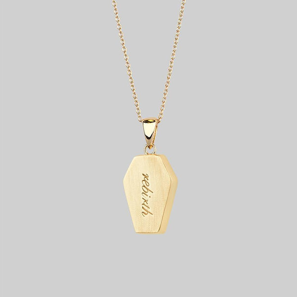 engraved gold coffin necklace