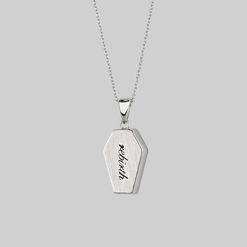 sterling silver necklace with words, gothic coffin necklace