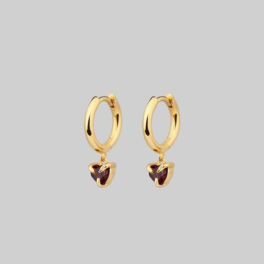 garnet gemstone hoop earrings gold
