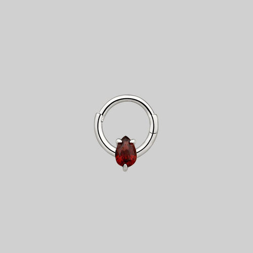 garnet teardrop septum ring silver