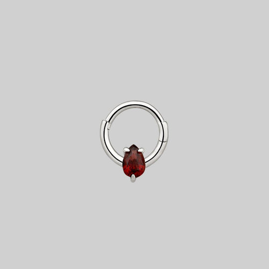 SULTAN. Garnet Silver Clicker Ring - Septum