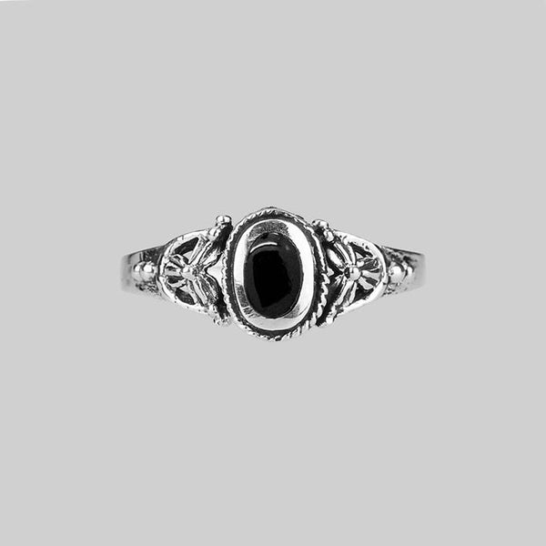 DARK SOUL. Detailed Onyx Silver Ring