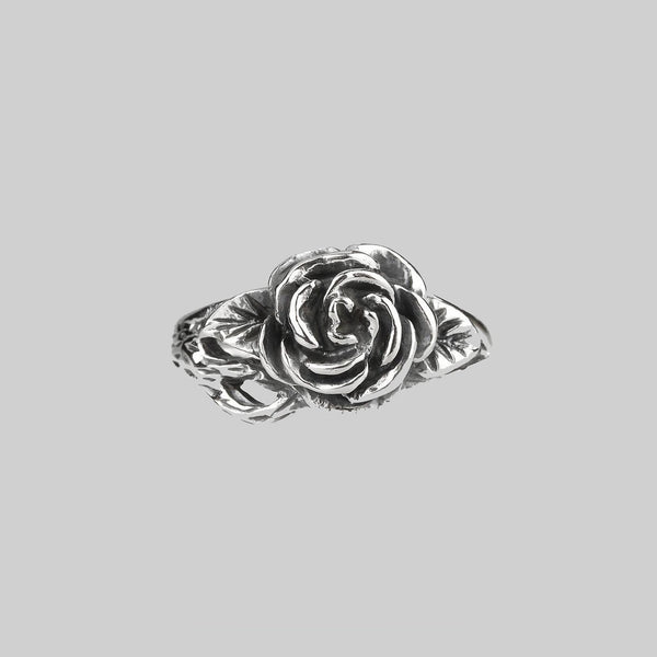 DEATHLY ROSE. Detailed Antique Silver Ring