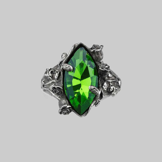 VERIDIAN. Dark Foliage Green Crystal Ring