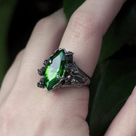Ring - VERIDIAN. Dark Foliage Green Crystal Ring