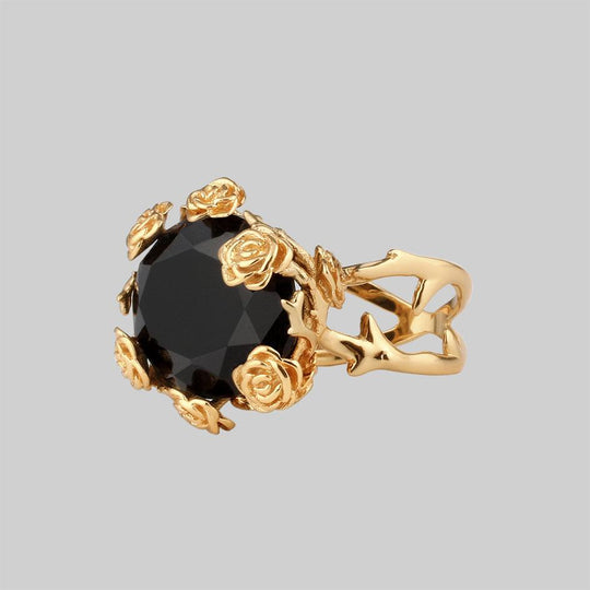 UTOPIA. Gold & Onyx Roses Ring