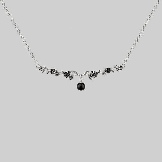 DAMASK. Black Spinel Rose Foliage Collar Necklace - Silver