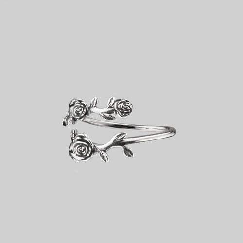 wraparound floral ring silver