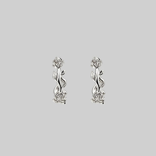 rose foliage mini hoop earrings silver