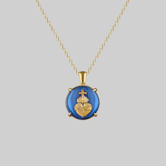 VIRTUE. Glass Sacred Heart Necklace - Gold