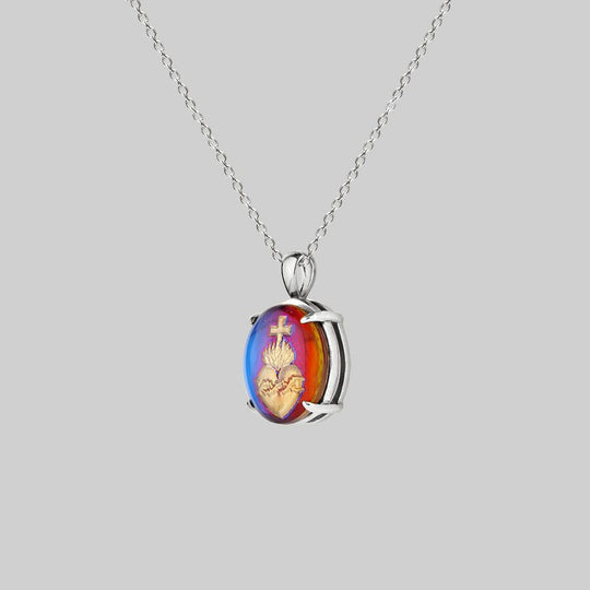 VIRTUE. Glass Sacred Heart Necklace - Silver