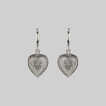 ARDOUR. Sacred Heart Hoop Earrings - Silver
