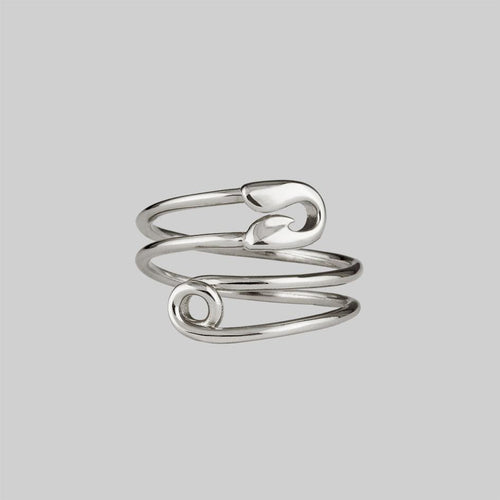 silver safety pin wrap ring