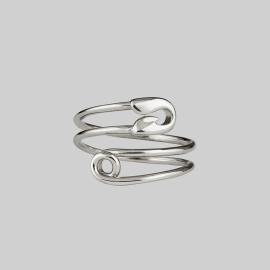 SOLENE. Safety Pin Wrap Ring -Silver