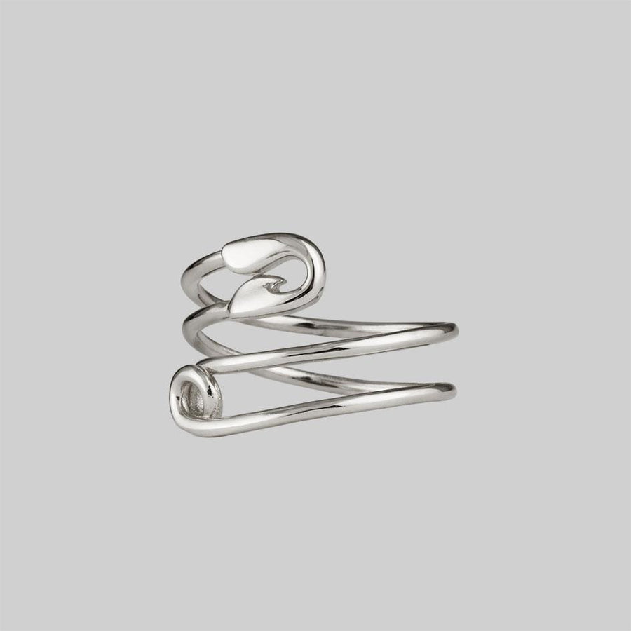 silver wraparound safety pin ring