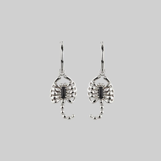 VELES. Scorpion Onyx Hoop Earrings - Silver