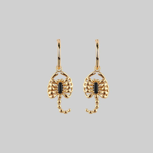 gold scorpion hoop earrings with gemstone