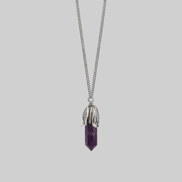 DEATH BLOOM. Amethyst Gemstone Necklace - Silver