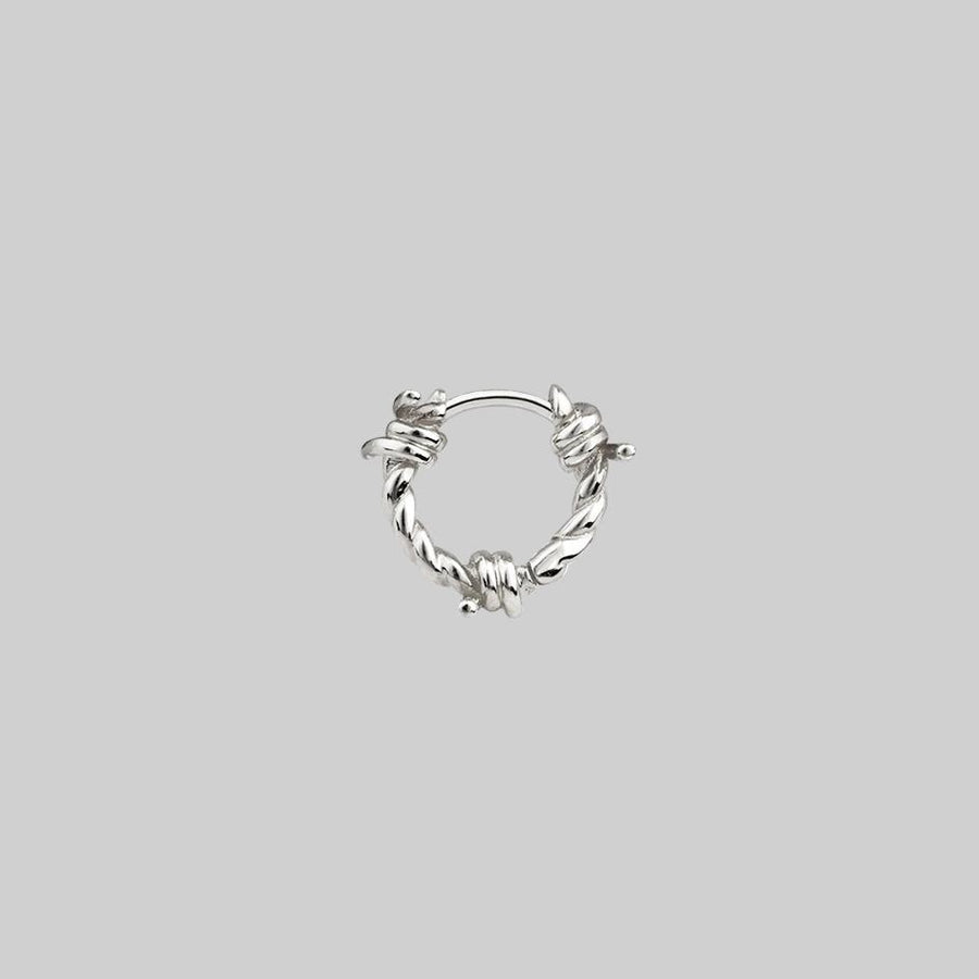 mini hoop earring silver barbed wire