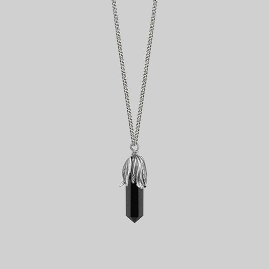 DEATH BLOOM. Black Agate Gemstone Necklace - Silver