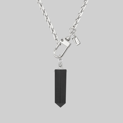 SCARLET. Black Agate Pendant & Fob Clasp Necklace - Silver