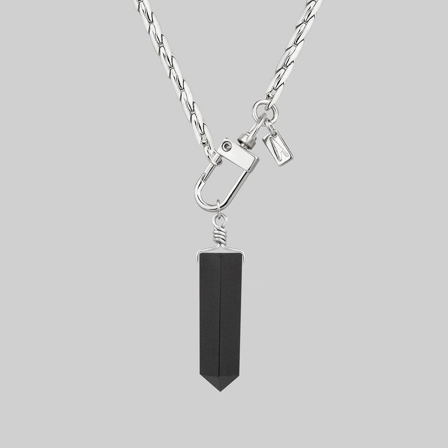 thick silver chain black gemstone necklace