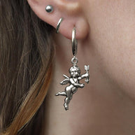 silver cherub charm earrings