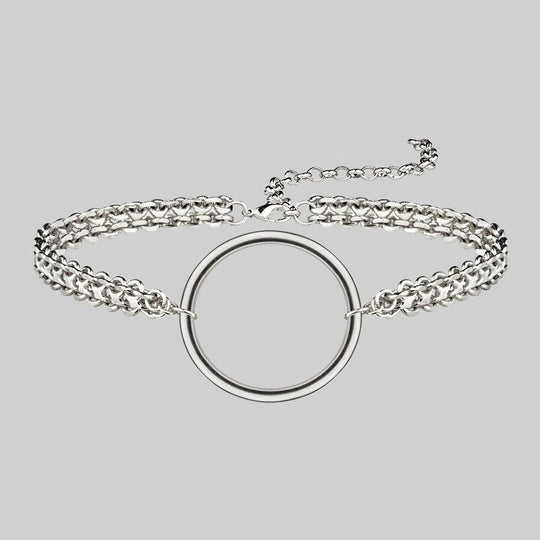 PARADOX. Oversized Ring Chain Choker - Silver