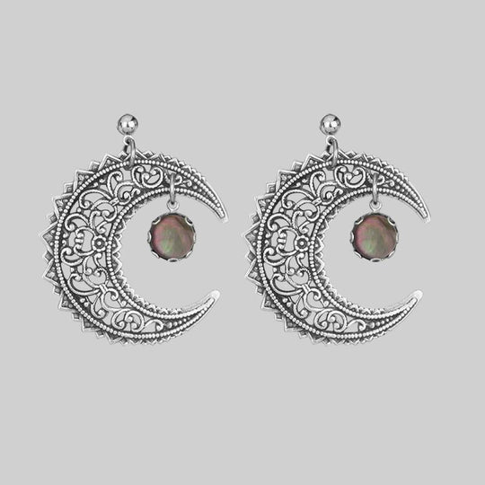 EUDORA. Black Mother of Pearl Crescent Earrings