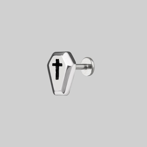 cross coffin earring stud