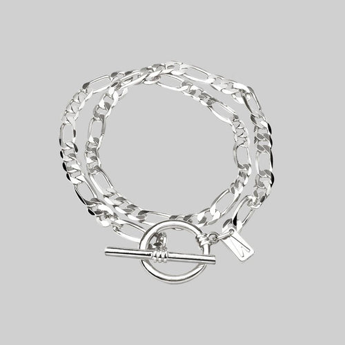 ETERNAL. Double Wrap T-Bar Bracelet - Silver