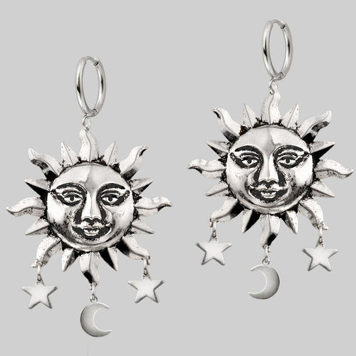 HELIOS. Sun & Moon Dream Catcher Hoop Earrings - Gold