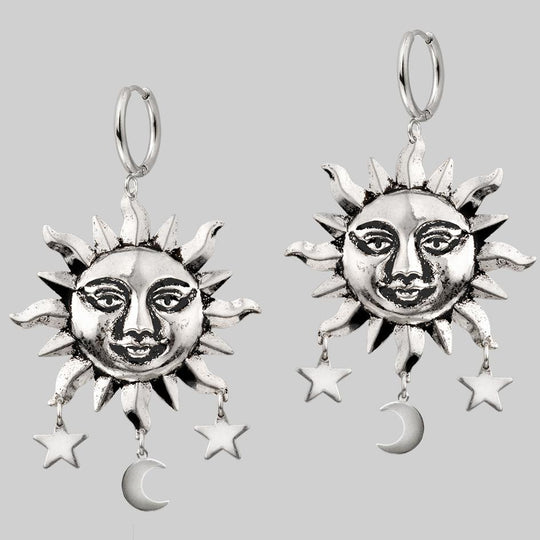 HELIOS. Sun & Moon Dream Catcher Hoop Earrings - Silver