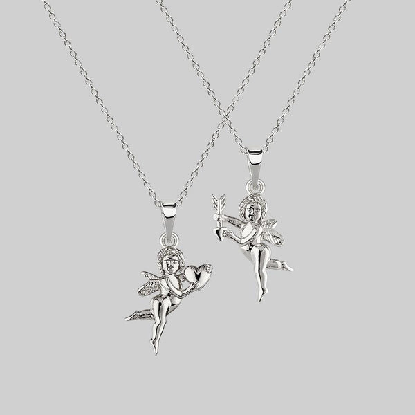 Cupid & Psyche Lovers Layering Necklace - Silver