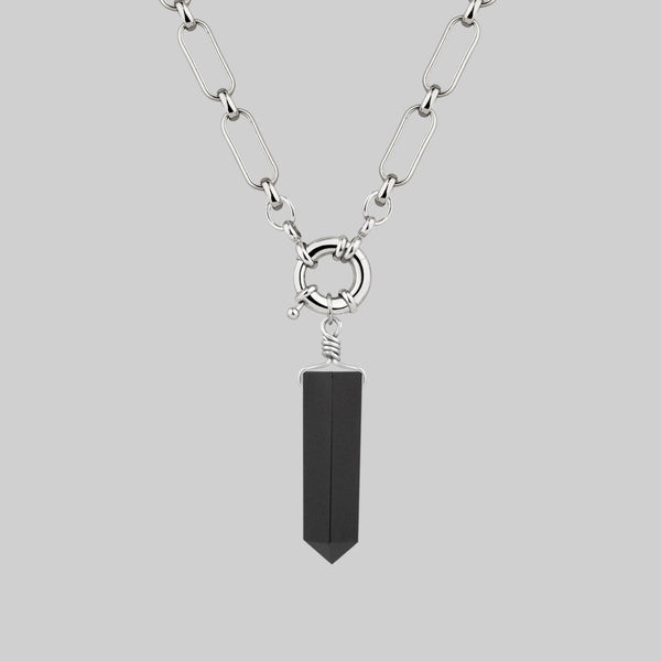 silver chain necklace with black agate gemstone
