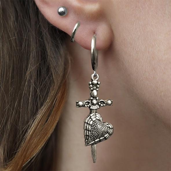 silver heart and dagger earrings