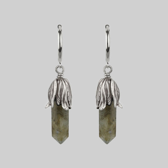 DEATH BLOOM. Labradorite Gemstone Hoop Earrings - Silver