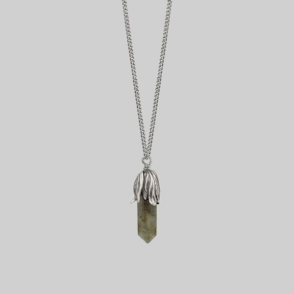 DEATH BLOOM. Labradorite Gemstone Necklace - Silver