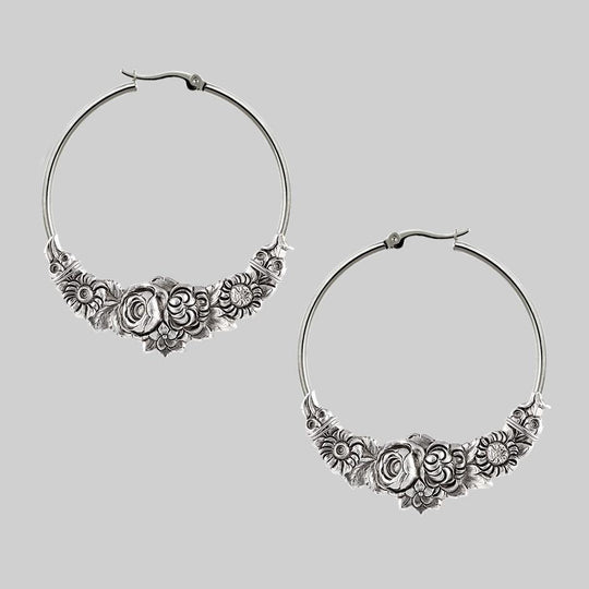 EMINENCE. Romantic Floral Hoop Earrings - Silver