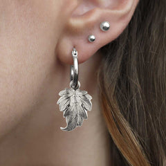 IVY. Winter Leaf Hoop Earrings - Silver
