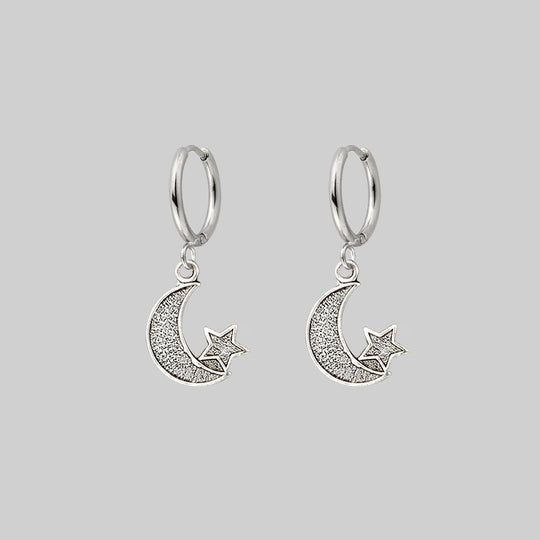 LITTLE DREAMS. Moon & Star Hoop Earrings - Silver