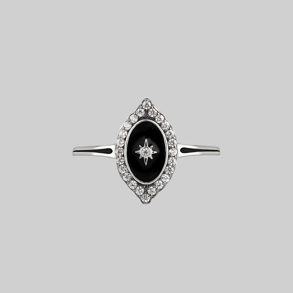 REVERENCE. Oval Black Enamel Crystal Silver Ring