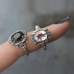 MARIA. Rose Wreath Clear Quartz Silver Cocktail Ring
