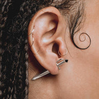 SALEM. Black Spinel Short Dagger Single Earring - Silver